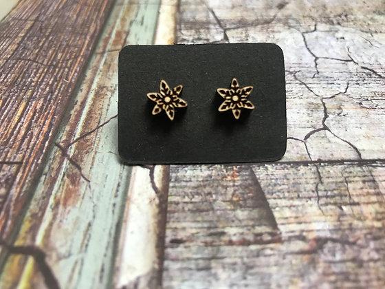 Wooden Snowflake Earrings