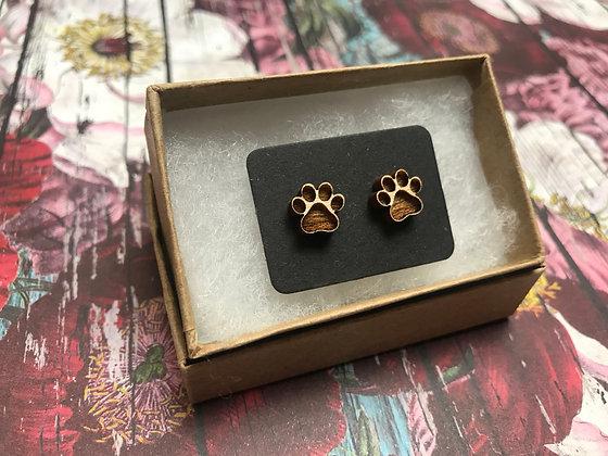 Wooden Paw Prints Earrings