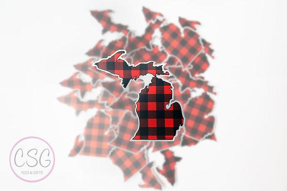 Michigan Plaid Sticker