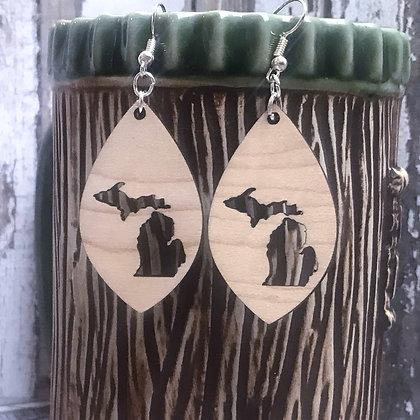 Michigan Wooden Dangle Earrings