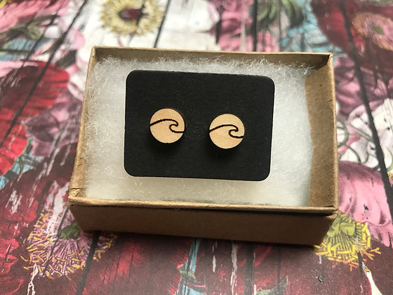 Wooden Wave Earrings