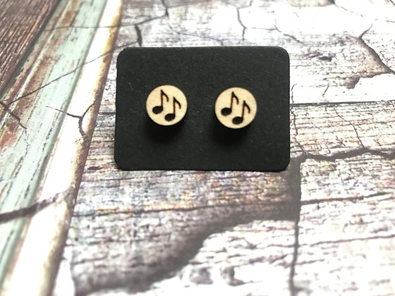Wooden Music Notes Earrings