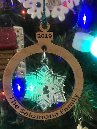 Michigan Snowflake & Wooden Ornament