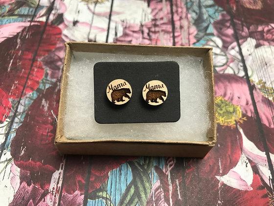 Mama Bear Wooden Earrings