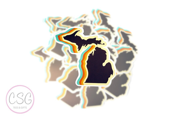 70s Michigan Shape Sticker