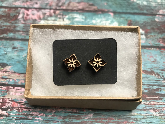 Wooden Earrings Square Flower
