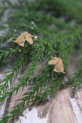 Wooden Unicorn Earrings