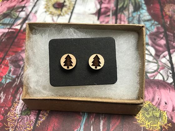 Wooden Pine tree Earrings