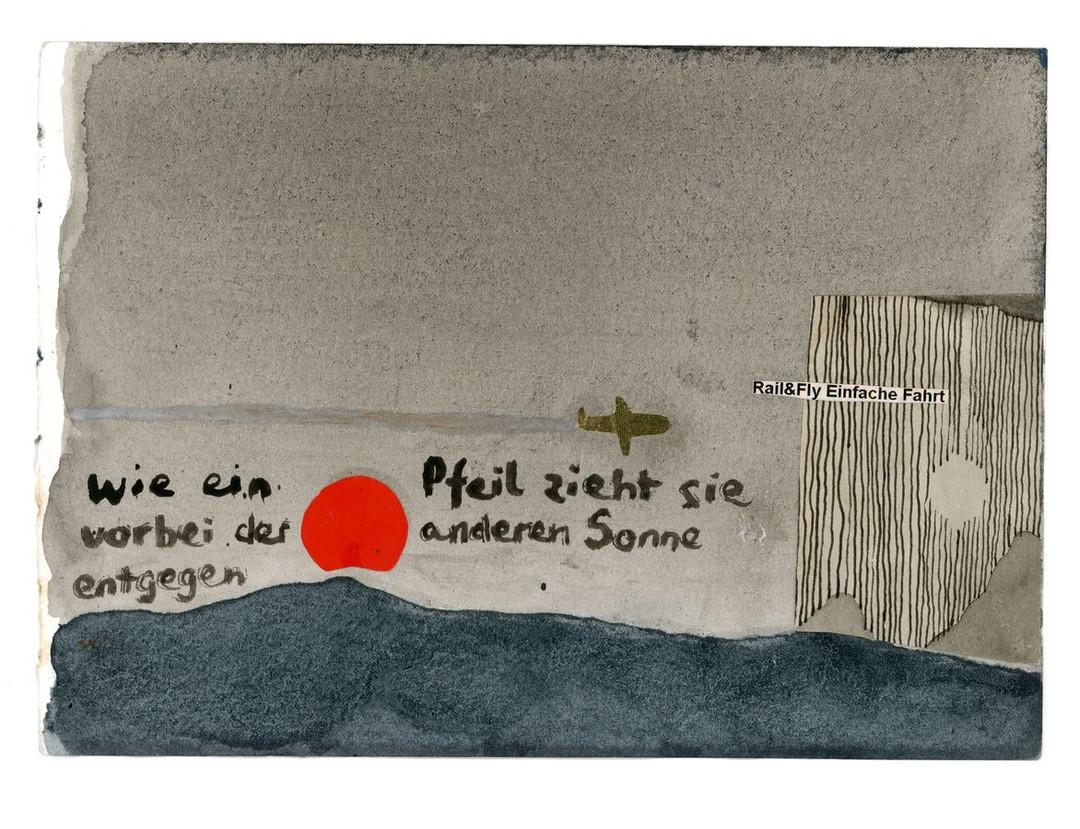 Walter Yu | Der anderen Sonne entgegen, mixed media on paper, 15 x 21 cm, 2016