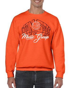 Unisex Alternative Lion Side Crewneck Sweatshirt (Orange/White/Black)
