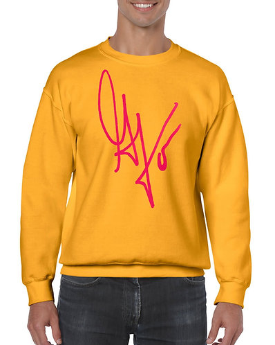 "Unisex ""G's Signature"" Crewneck Sweatshirt (Gold/Hot Pink)"