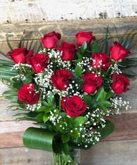 12 roses rouges avec vase 114$