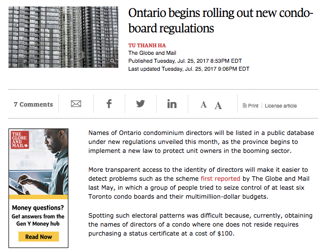 Globe and Mail Condo Article