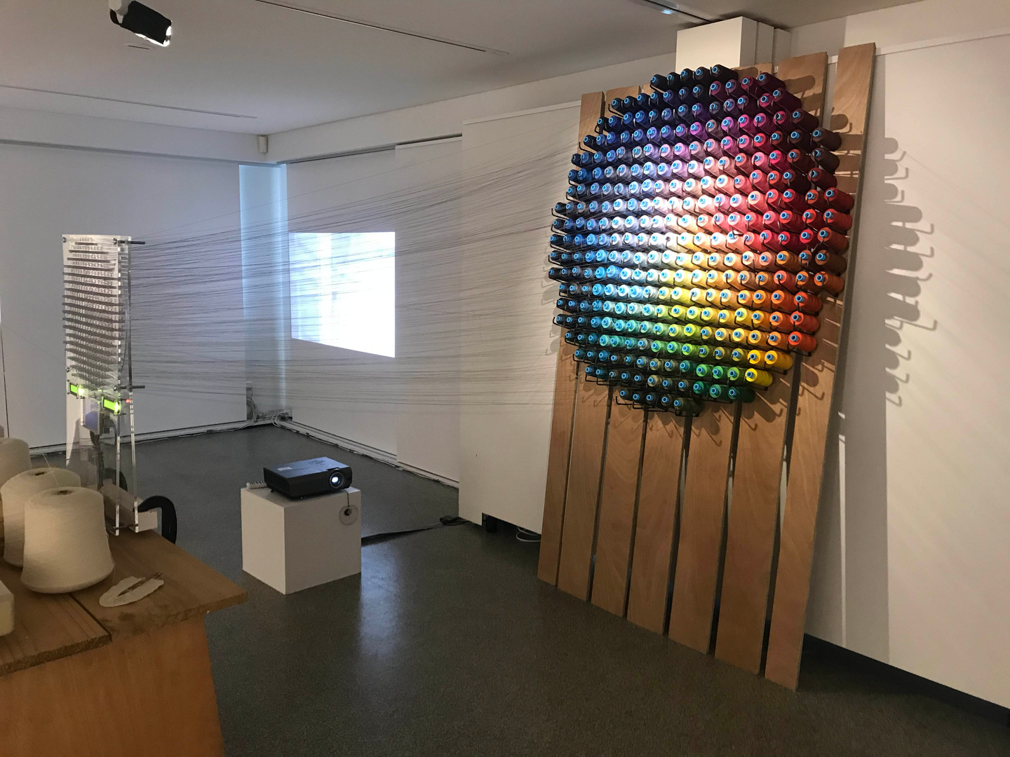 Generative Textile Systems  (GTS) 2019- present   (ongoing) cotton, merino, lambswool,steel, wood, acrylic, PVC,  knitting machine, micropixels, arduino, micro-processors, LED screens