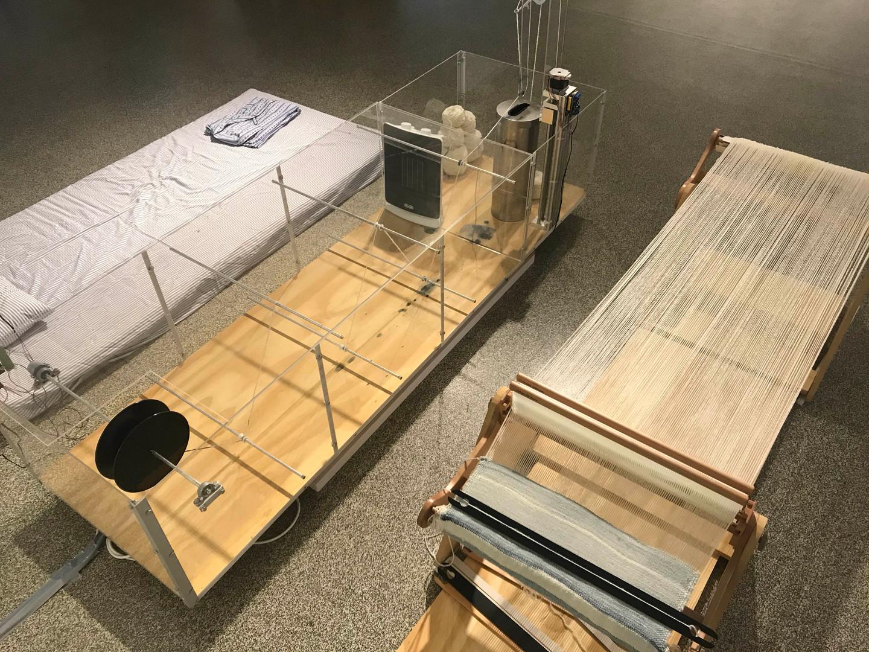 BODYecology 2016 – present (ongoing)  handspun merino lambswool, indigo, acrylic, steel, wood, electronics, weaving loom and video