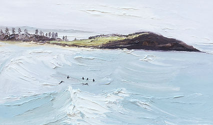 Morning light-Big swell and guys on the