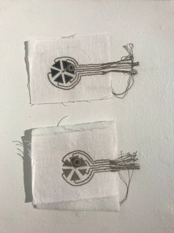 Terrain Blanket Tilt Sensor Samples 2020       linen, conductive thread, conductive fabric, metallic bead, cotton