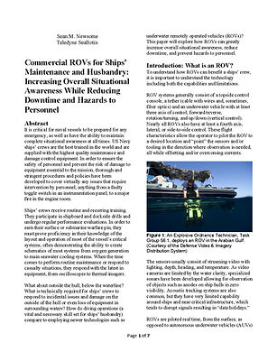Commercial ROVs for Ships' Maintenance a