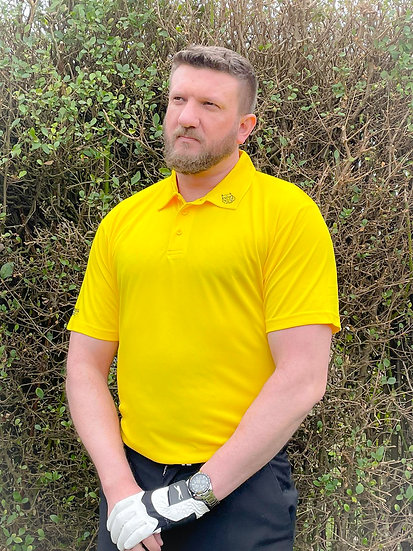 Can't Believe It's Not Putter Yellow Tiger Tech Men's Polo