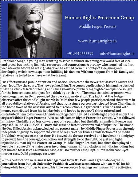 Prabhloch Singh - Founder, Human Rights Protection Group, also known as Middle Finger Protests
