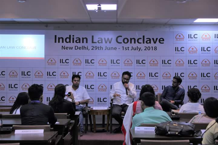 Prabhloch delivering a speech at the Indian Law Conclave