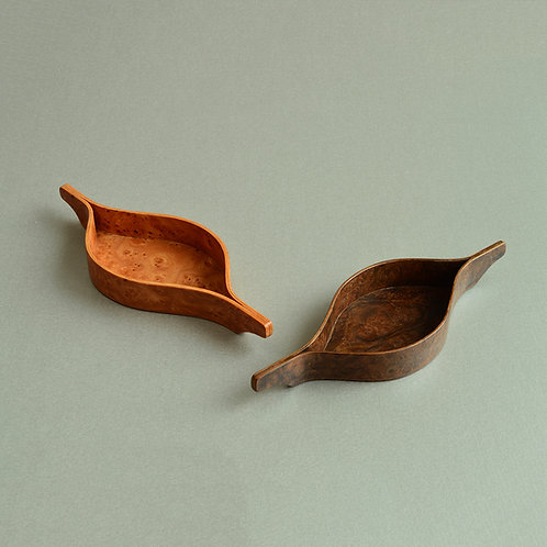 Two Small Decorative Trays in Burr Elm and American Burr Walnut