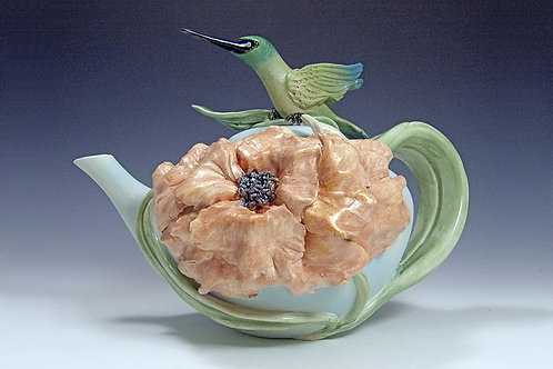 Peony Hummingbird Teapot