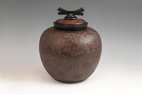 Dark Maple Leaf Ginger Jar