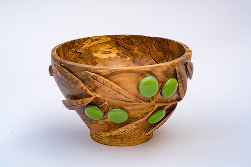 Carved Olive Wood Bowl with fused glass