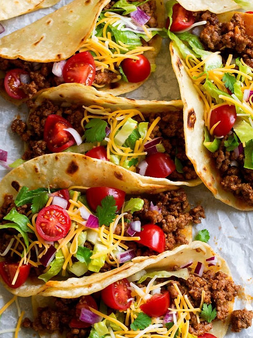 TUESDAY - Beef Tacos, Red Beans & Cilantro and Lime Rice, Chips & Queso, Topping
