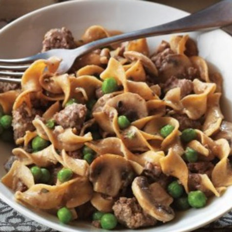 THURSDAY - Beef Stroganoff, Wide Egg Noodles, Steamed Broccoli, Greek Salad