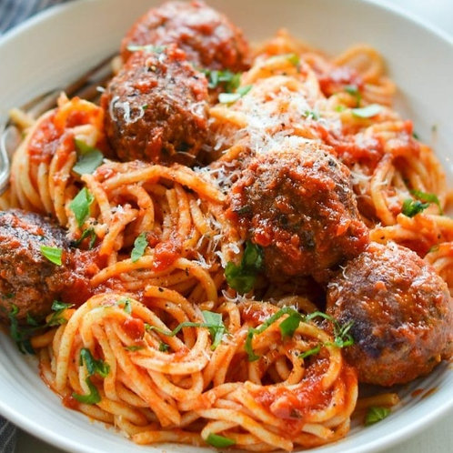 MONDAY - Spaghetti & Meatballs, Garlic Bread, Caesar Salad