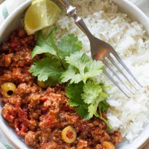TUESDAY - Picadillo, Basmati Rice, Plantains, Garden Salad