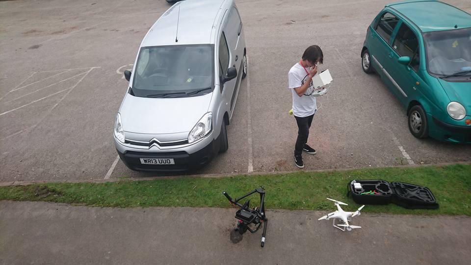 Scotty preparing the drone for flight!