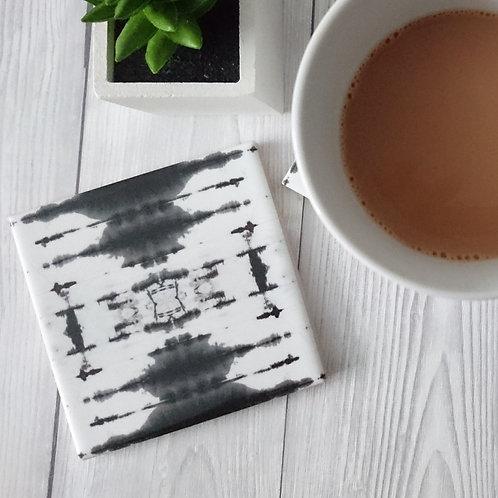 Black and White Ceramic Coaster
