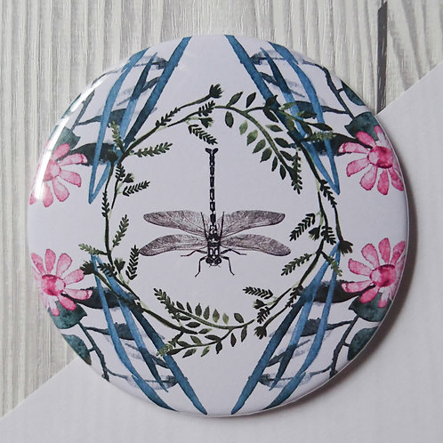 Pocket Mirror pink dragonfly