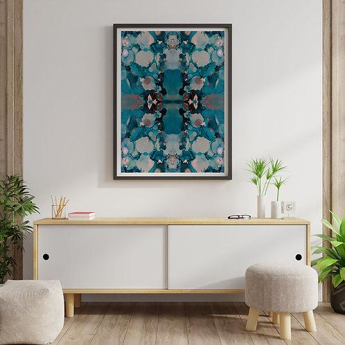 Blue Inkblot Print