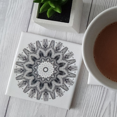 Heart Mandala Ceramic Coaster