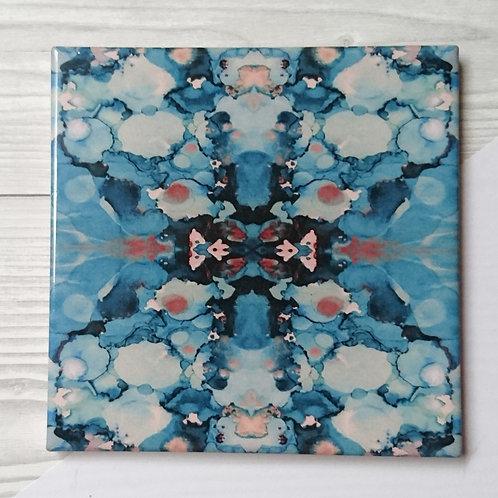 Ceramic coaster in blue inkblot