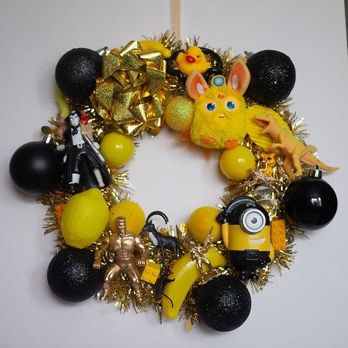 Luxury Kitsch Christmas Wreath Yellow
