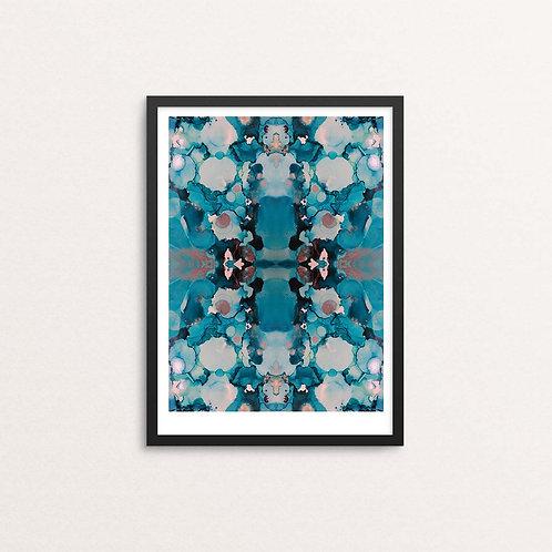 Blue inkblot framed print