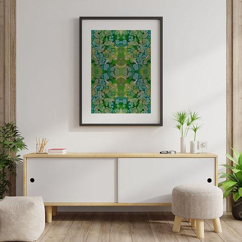 Green Inkblot Print