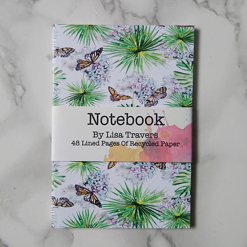 Notebook butterflies and leaves in wrapper