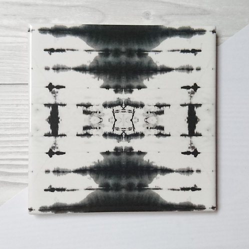 Ceramic coaster in black and white tie dye