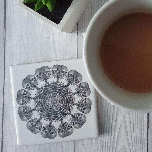 Skeleton Mandala Ceramic Coaster