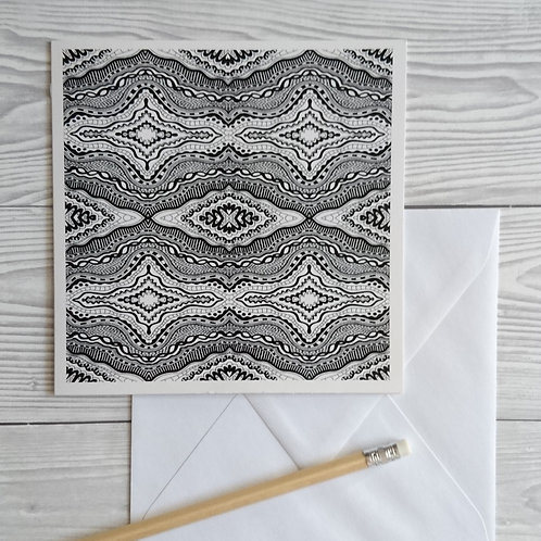 Greeting card and envelope black and white