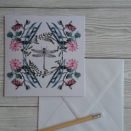Greeting card and envelope pink dragonfly