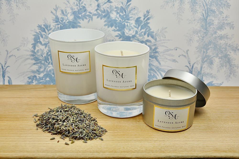 Lavender Azure scented candles using premium lavender essential oil