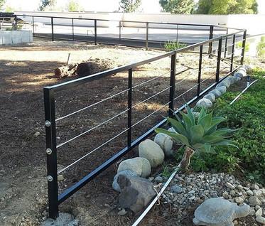 Cable rail perimeter fence #theprofessionalironworks #fence #ironworks #socal #lacounty #riversidecounty #sanbernardinocounty #ornamentaliro