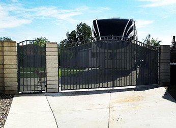 Double and single gate with privacy mesh in a Gun metal grey powder coat finish  #gates #ornamental #irongates #welders #theprofessionaliron